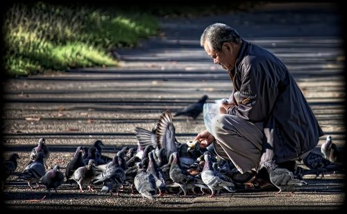 Man feeding birds