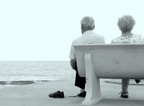 Old couple on the beach